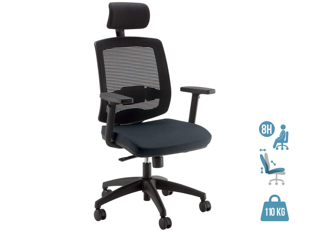 Fauteuil de bureau ergonomique MALICE avec têtière - accoudoirs réglables - noir