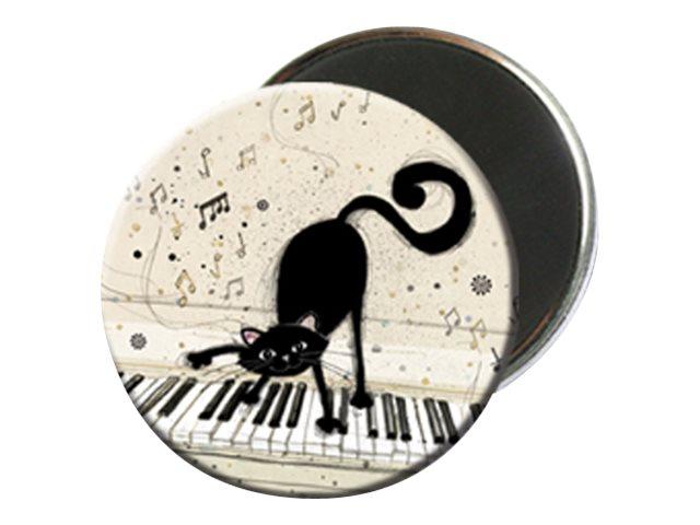 Kiub Bug Art - Magnet rond en verre - Chat sur clavier