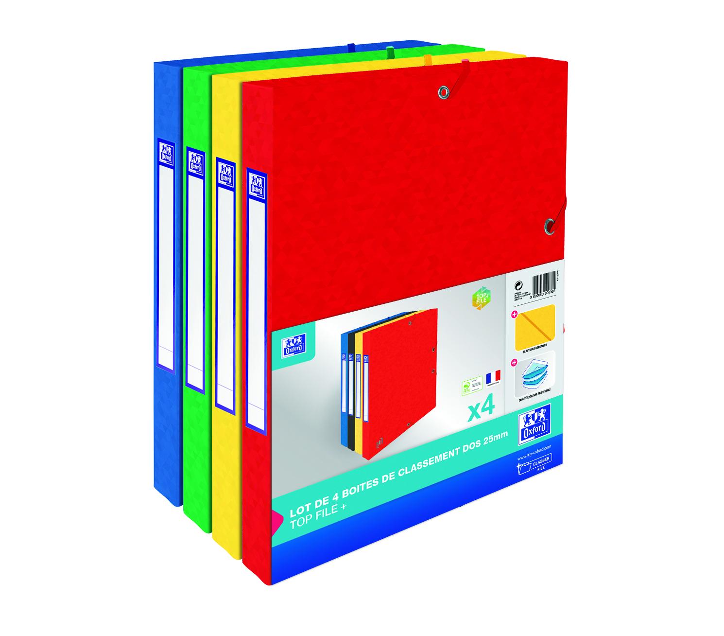 Oxford Top File - 4 boîtes de classement en carte lustrée - dos 25 mm - coloris assortis