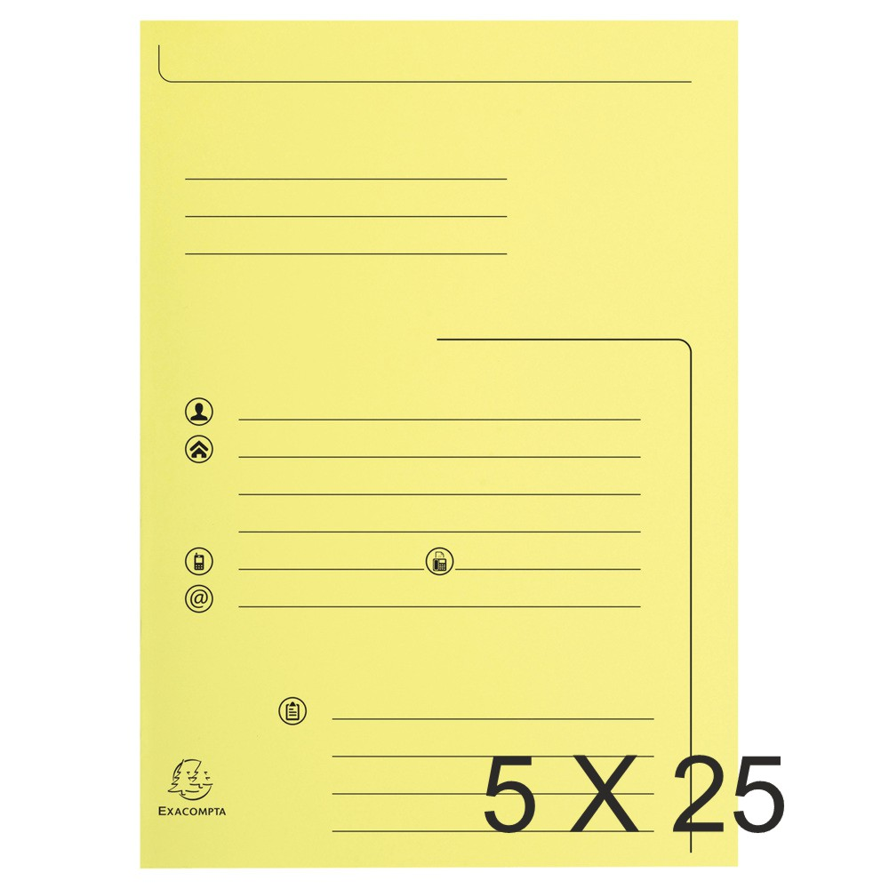 Exacompta Super 210 - 5 Paquets de 25 Chemises imprimées 2 rabats - jaune canari