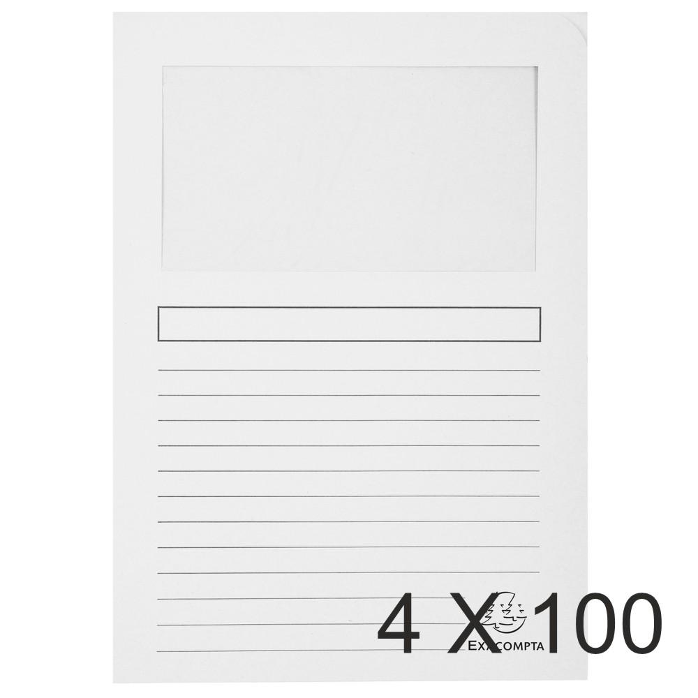 Exacompta Forever - 4 Paquets de 100 Chemises à fenêtre - 120 gr - blanc