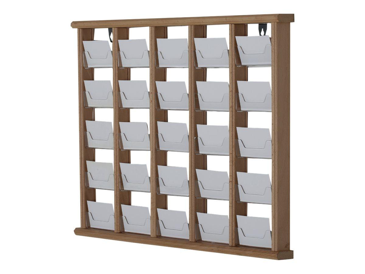 Promocome - Présentoir de cartes de visite mural - 5 x 5 compartiments - finition bois foncé