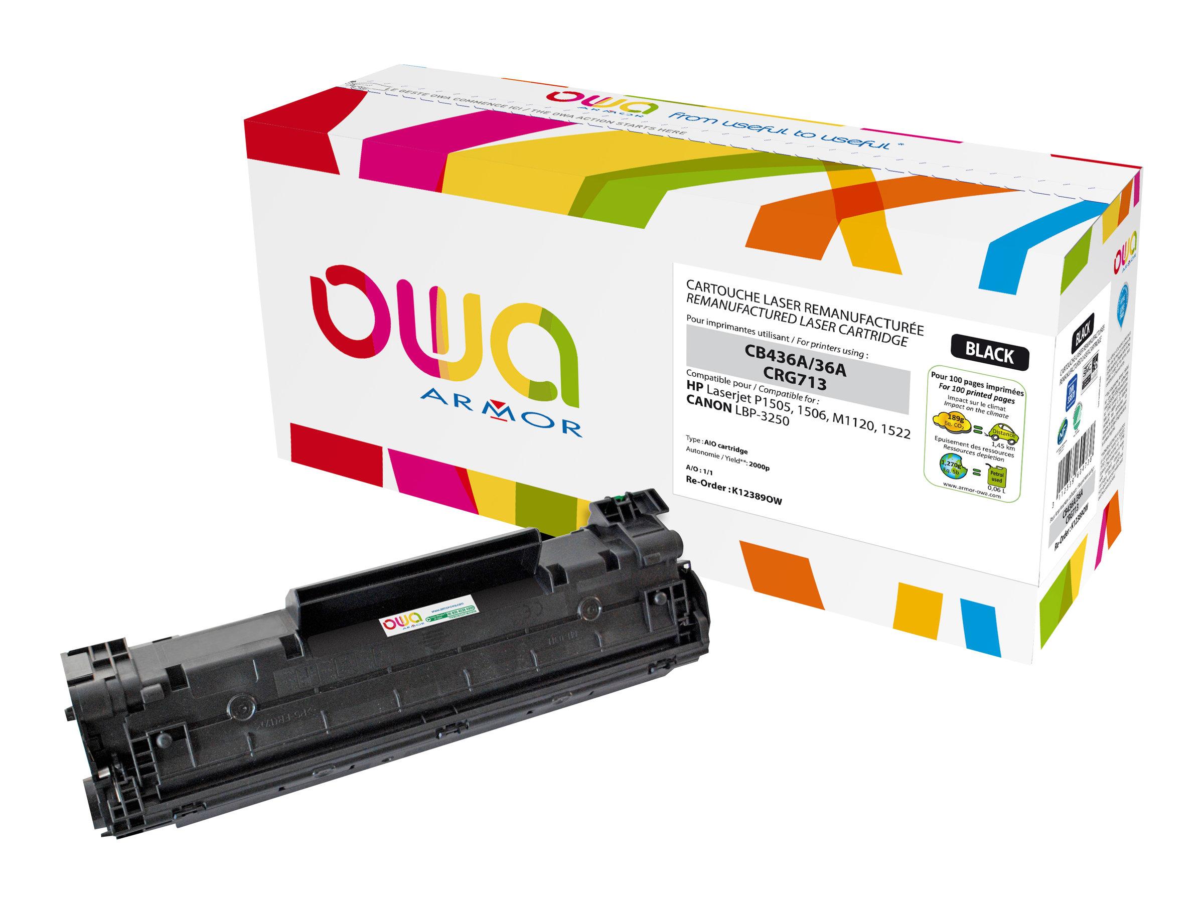 Owa K12389OW cartouche équivalente HP 36A / Canon 713 - noir