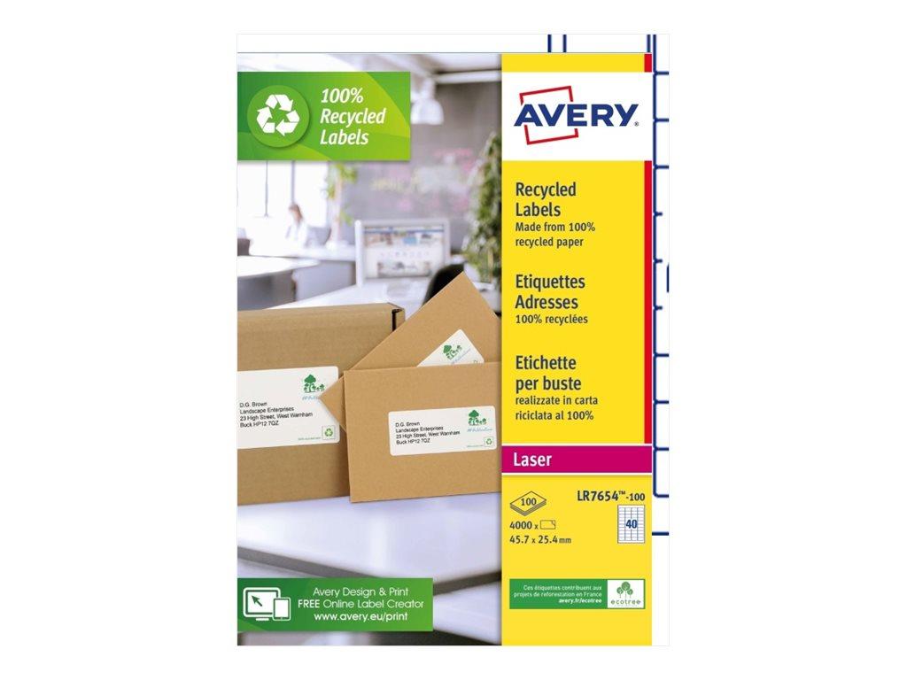 Avery - 4000 Étiquettes adresse recyclées blanches - 63,5 x 46,6 mm - Impression laser - réf LR7654-100