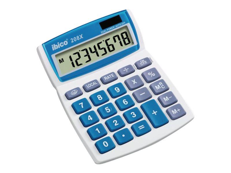Calculatrice de bureau Ibico 208X - 8 chiffres - alimentation batterie et solaire