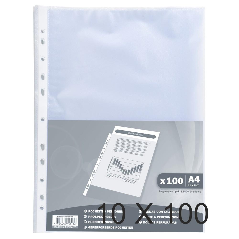 Exacompta - 10 Packs de 100 Pochettes perforées - A4 - grainées - 4/100