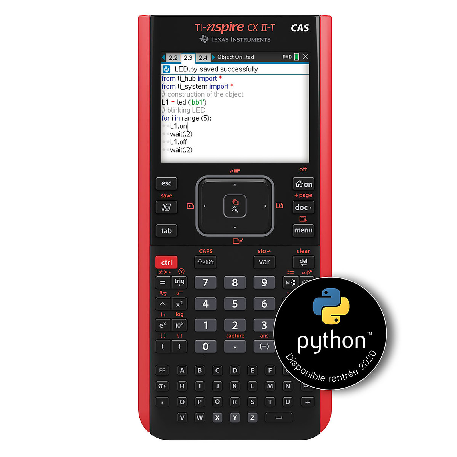 Calculatrice graphique TI-Nspire CX II-T CAS - mode examen intégré - Edition Python - précision algébrique