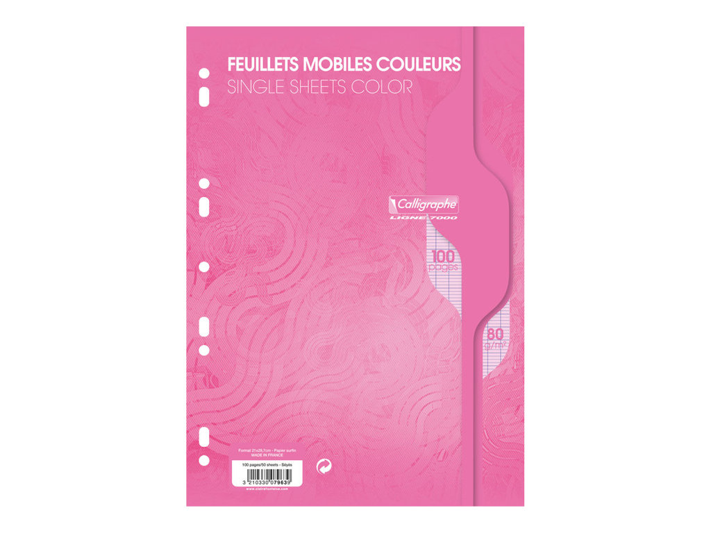 Calligraphe - 100 feuilles simples rose grands carreaux A4 perforées