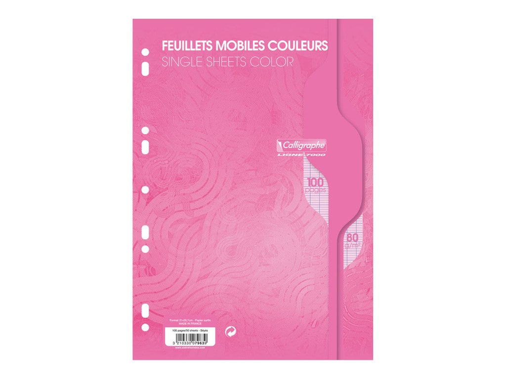 Calligraphe - 100 feuilles simples A4 - grands carreaux (Seyes) - perforées - rose