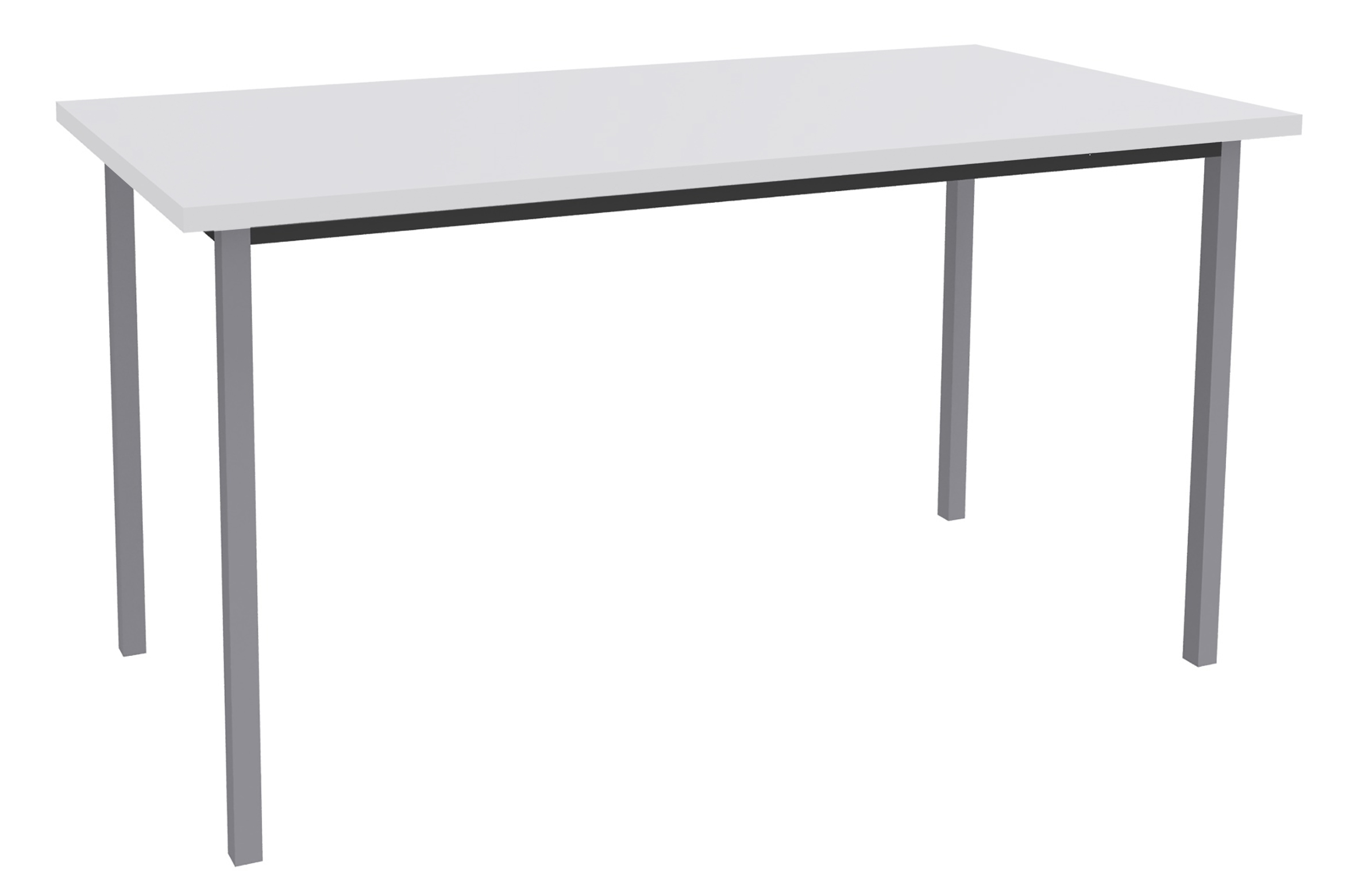 Table de réunion Rectangulaire - 120 x 60 cm - Pieds aluminium - blanc perle