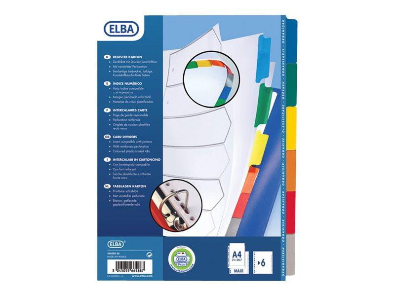 ELBA StrongLine - Intercalaire 6 positions - A4 Maxi - carte blanche