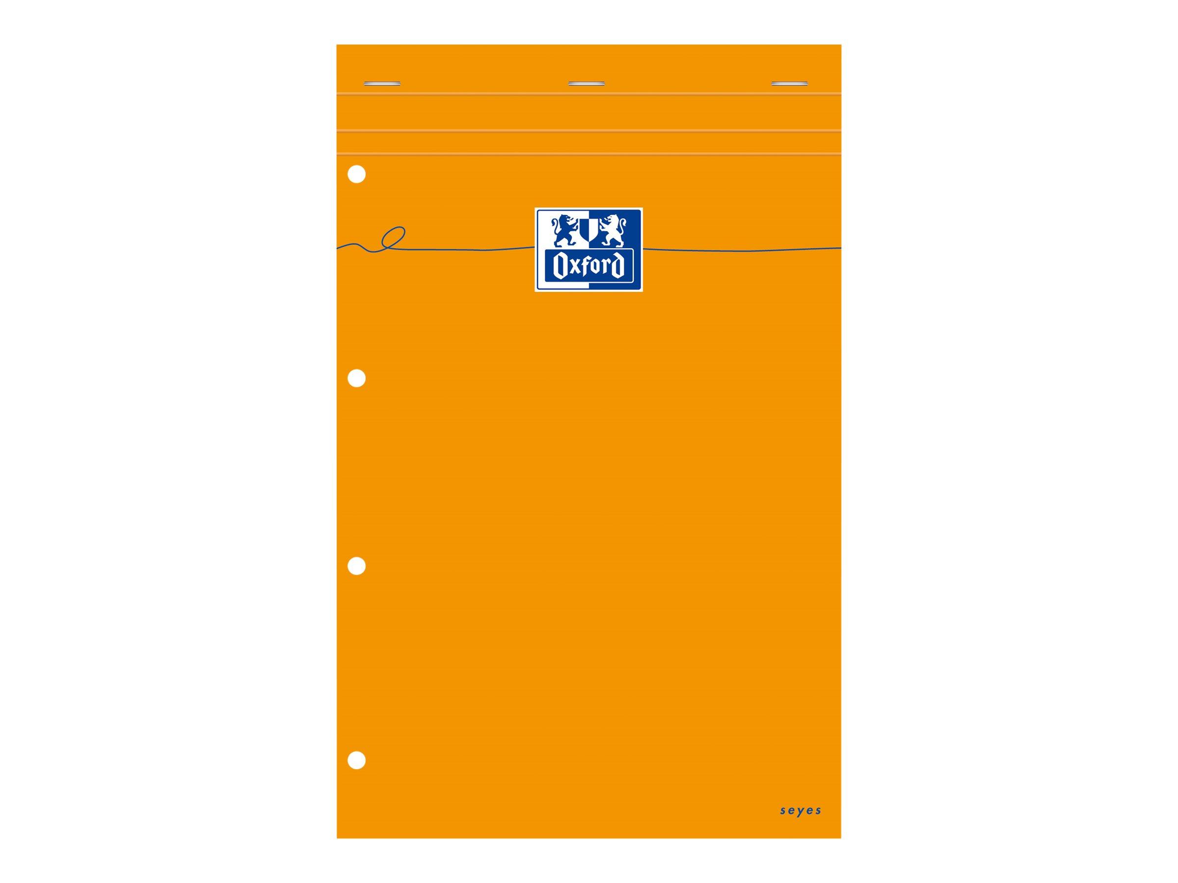 Oxford - Pack de 5 Blocs notes - A4 + - 160 pages - grands carreaux - perforés - orange