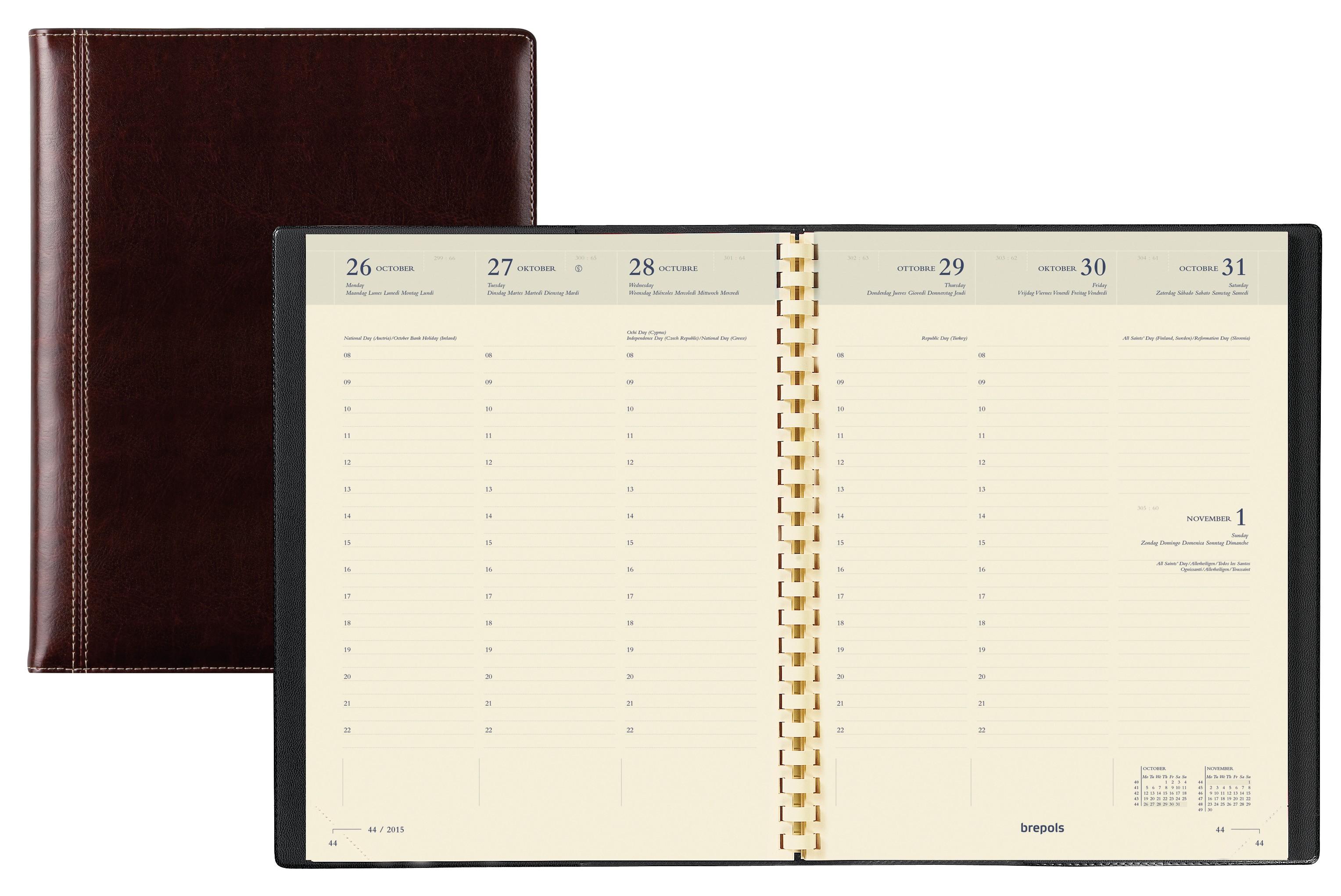 Agenda Palermo Timing - 1 semaine sur 2 pages - 17 x 22 cm - marron - Brepols