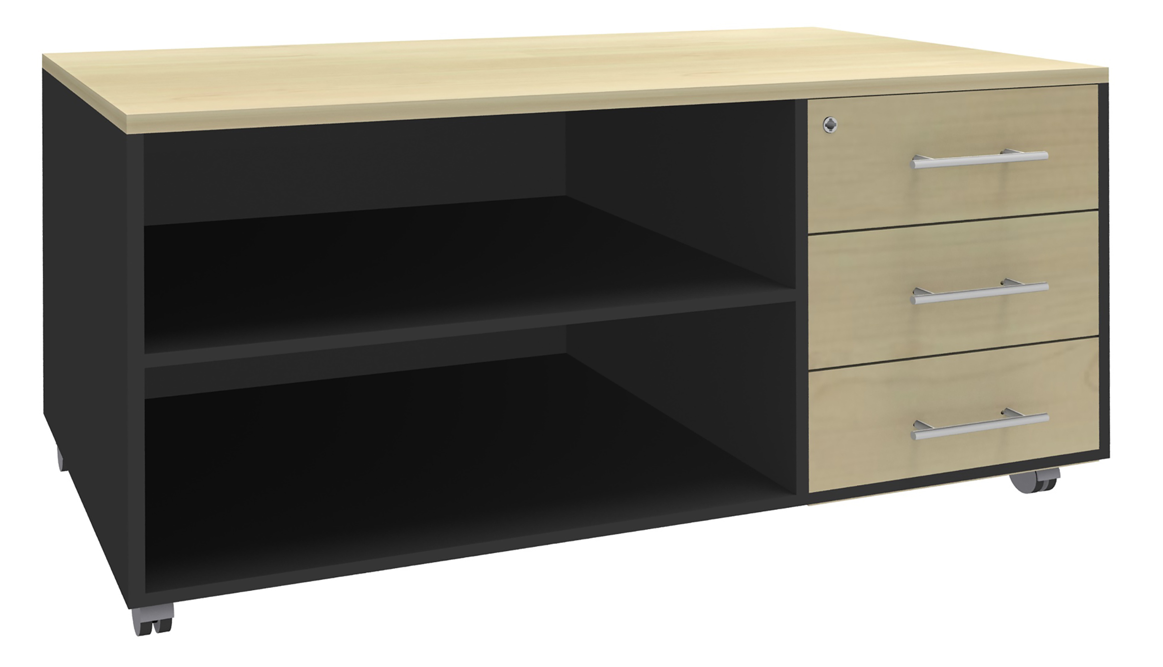 Console mobile STEELY - L120 x H63 x P60 cm - 3 tiroirs - coté anthracite - finition façade et dessus imitation Erable