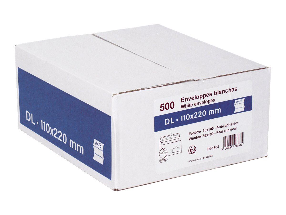 GPV - 500 Enveloppes DL 110 x 220 mm - 80 gr - fenêtre 35x100 mm - blanc - bande adhésive