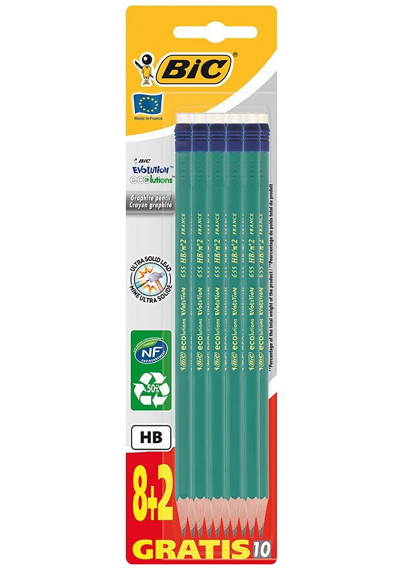 BIC ECOlutions EVOLUTION 655 - Pack de 10 Crayons à papier - HB - embout gomme