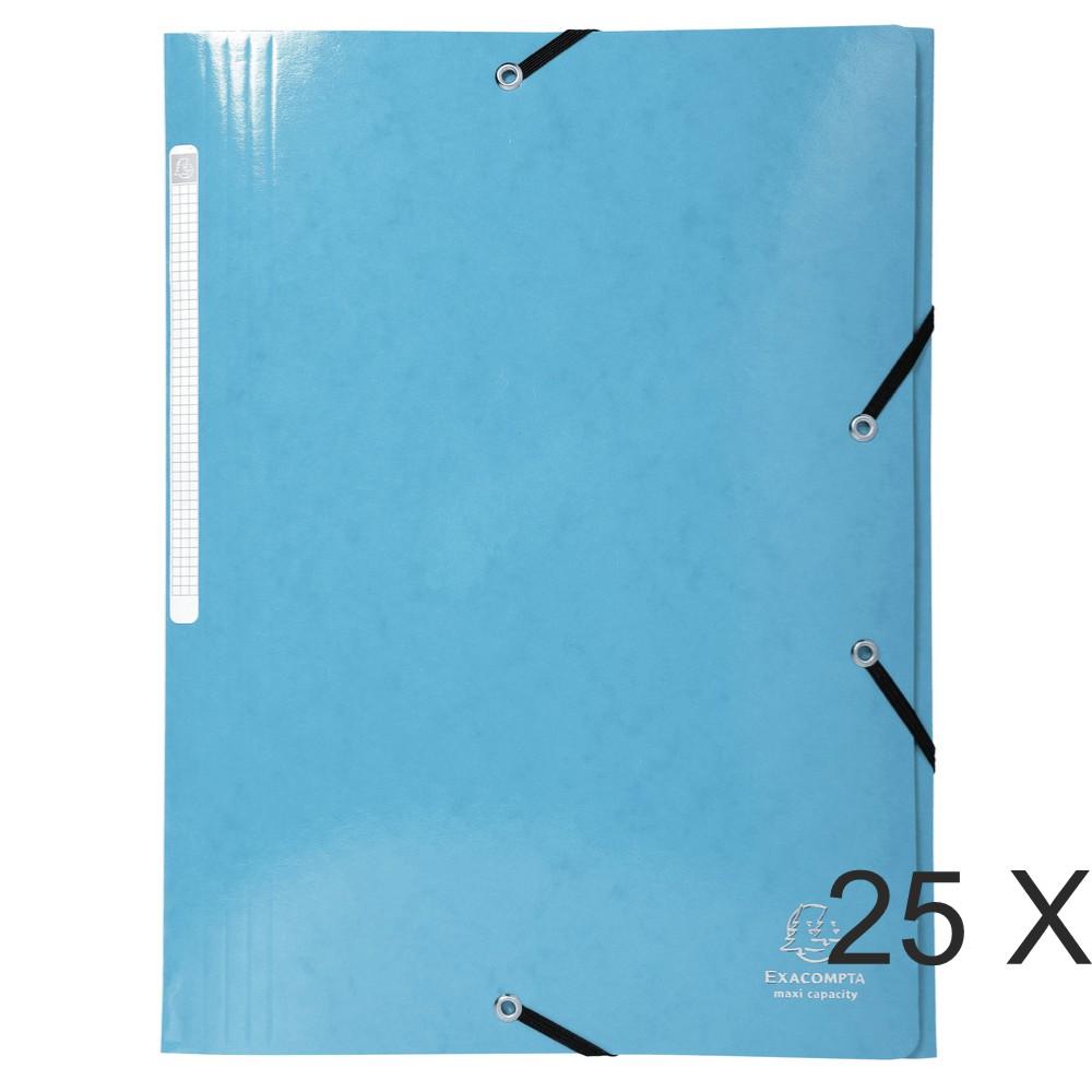Exacompta Iderama - 25 Chemises à rabats maxi capacity - bleu clair (carte lustrée pelliculée)