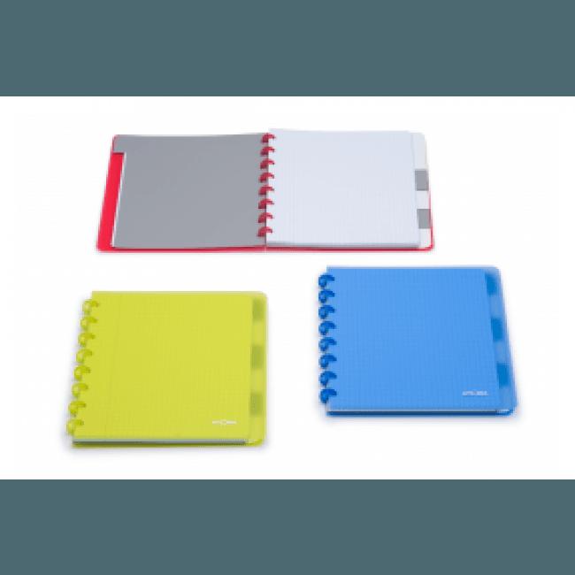 Atoma - Carnet 17,5 x 21 cm - 120 pages - grands carreaux - feuilles repositionnables - disponible dans différentes couleurs