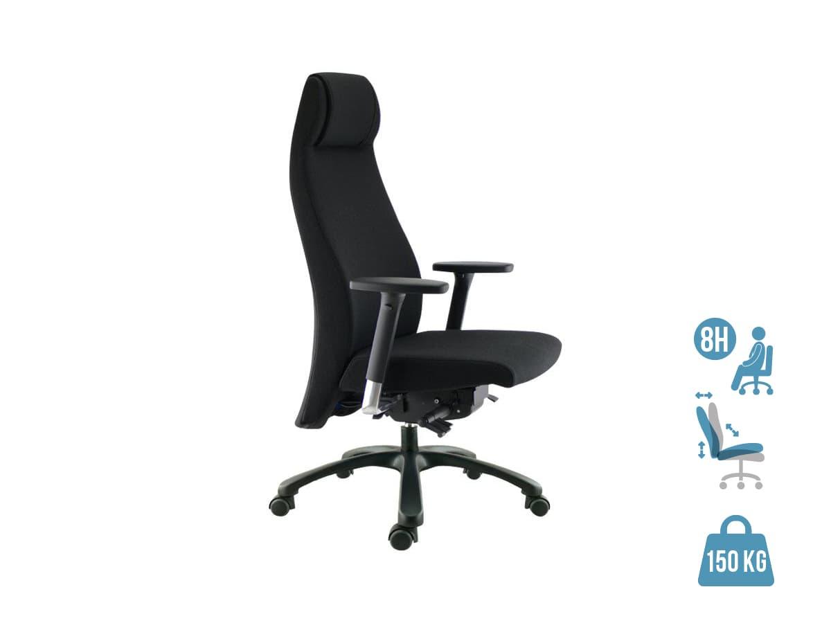 Fauteuil de bureau ergonomique GOXOA - accoudoirs réglables - appui-tête intégré - noir