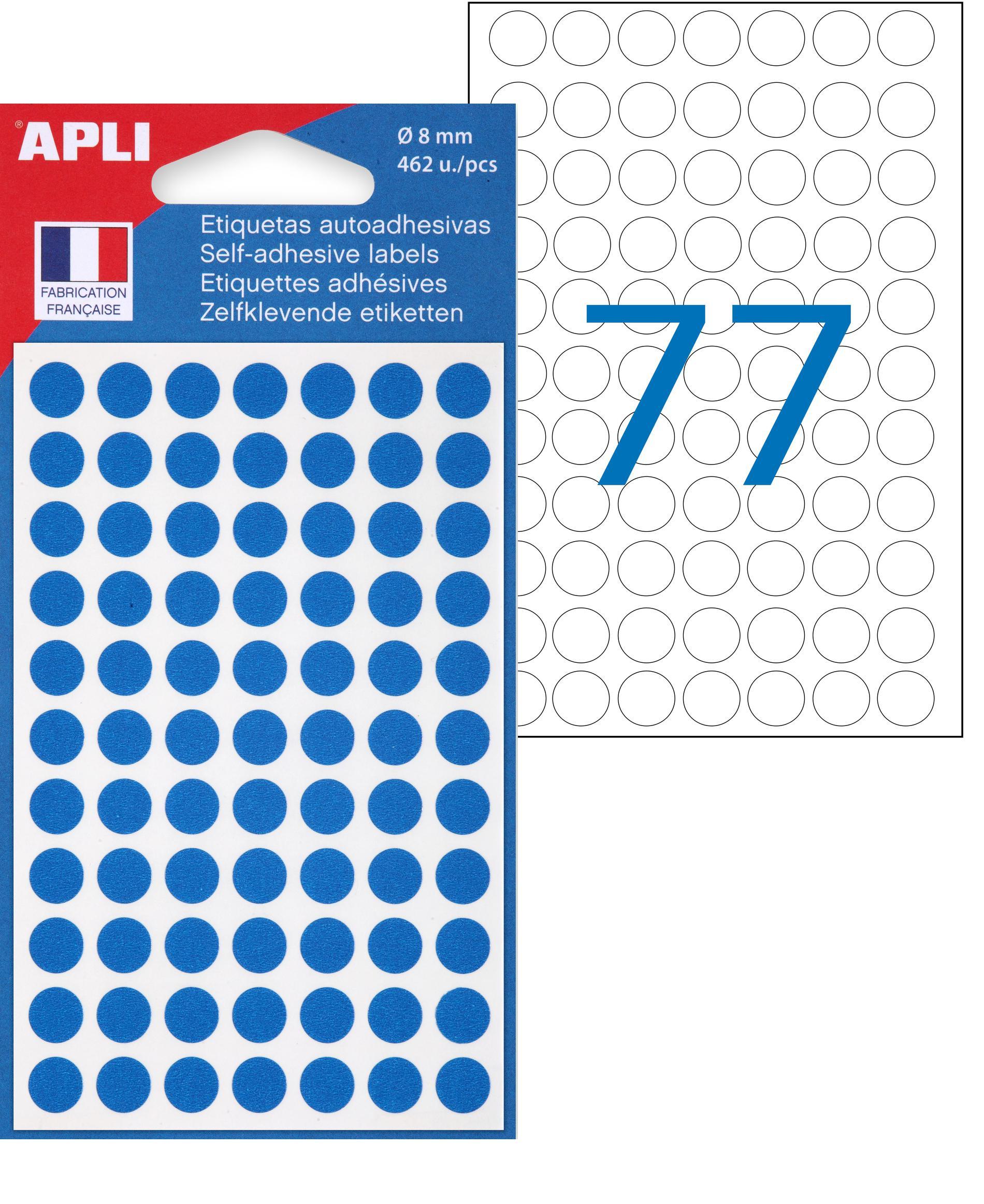 Apli Agipa - 462 Pastilles adhésives - bleu - diamètre 8 mm - réf 111832