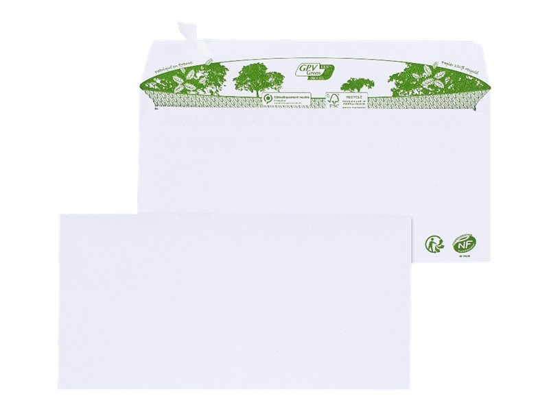 GPV Green - 200 Enveloppes recyclées DL 110 x 220 mm - 80 gr - fenêtre 45x100 mm - blanc - bande adhésive ouverture rapide