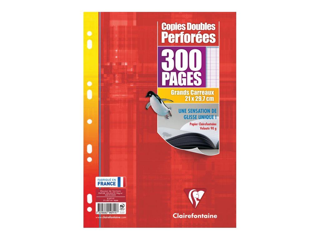 Clairefontaine - 300 copies doubles A4 - grands carreaux - perforées