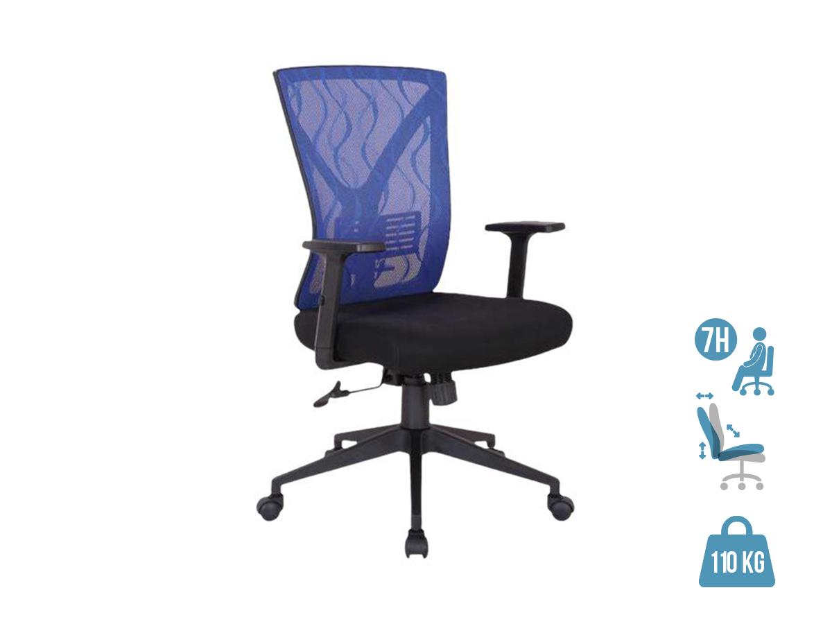 Fauteuil de bureau MARVIN - Accoudoirs réglables - noir et bleu