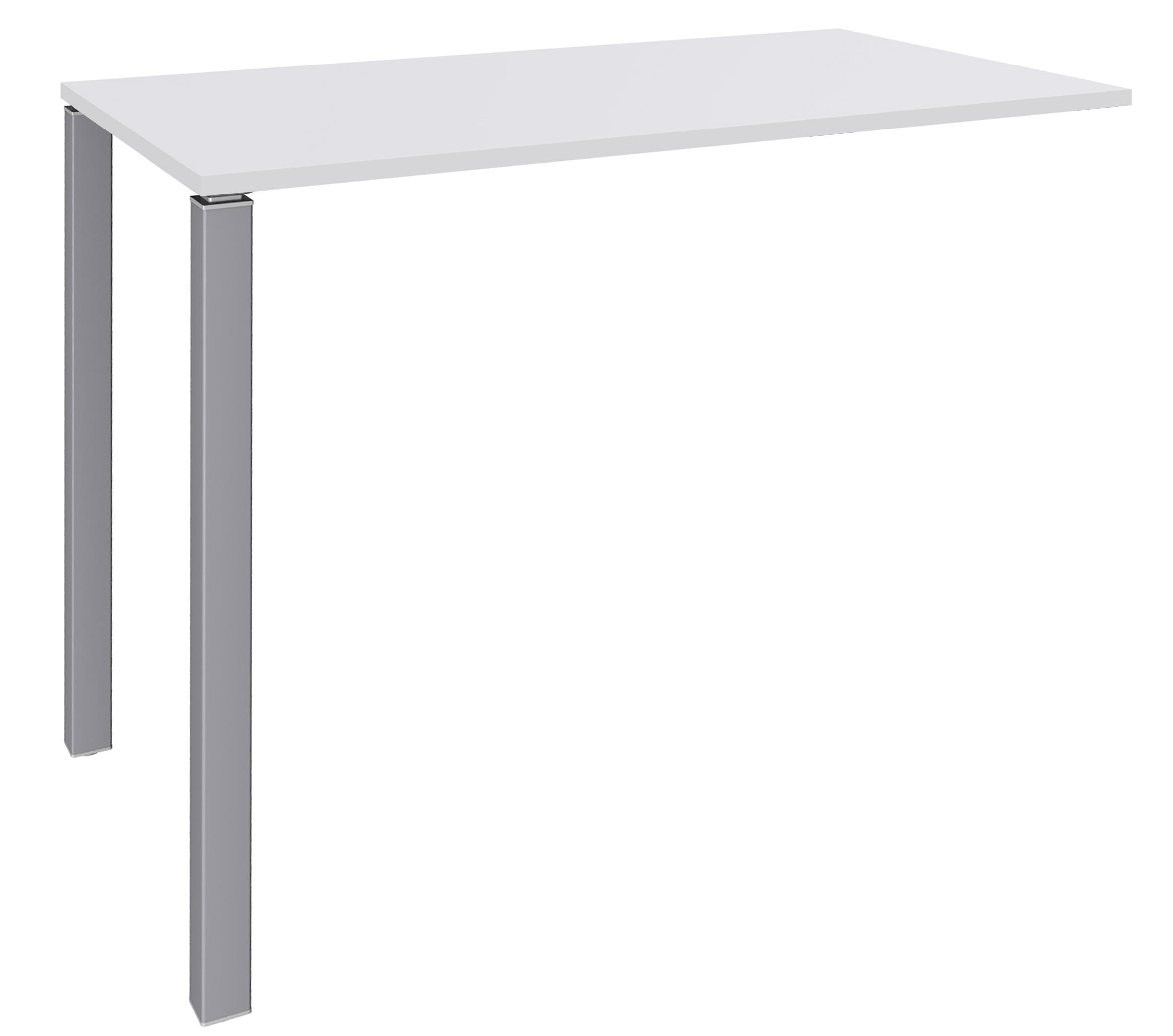 Table Lounge - L120xH105xP60 cm - 2 Pieds alu - plateau blanc perle