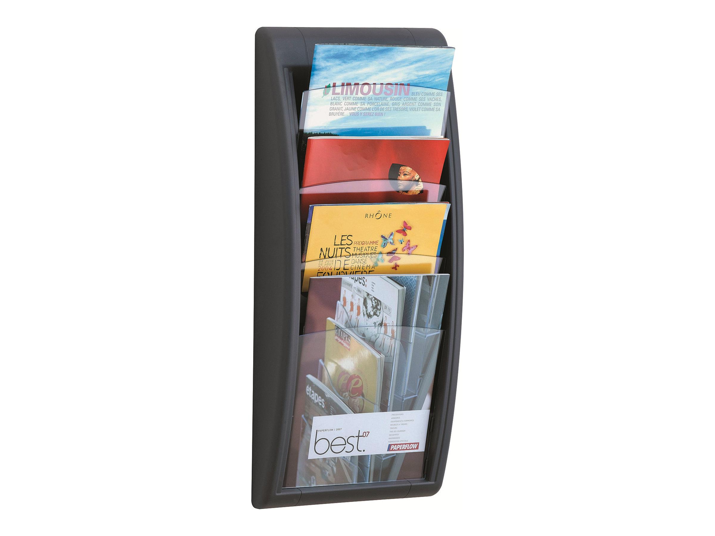 Présentoir mural Quick Fit pour documents A4 - 4 compartiments - anthracite/transparent