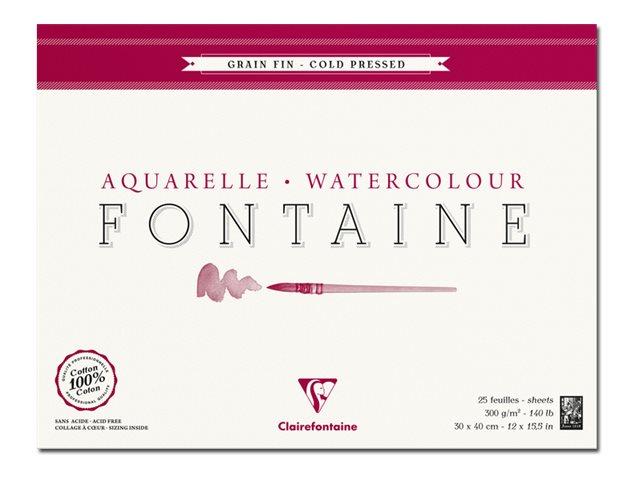 Clairefontaine Fontaine - Bloc de papier aquarelle grain fin - 30 x 40 cm - 25 feuilles - 300 g/m²