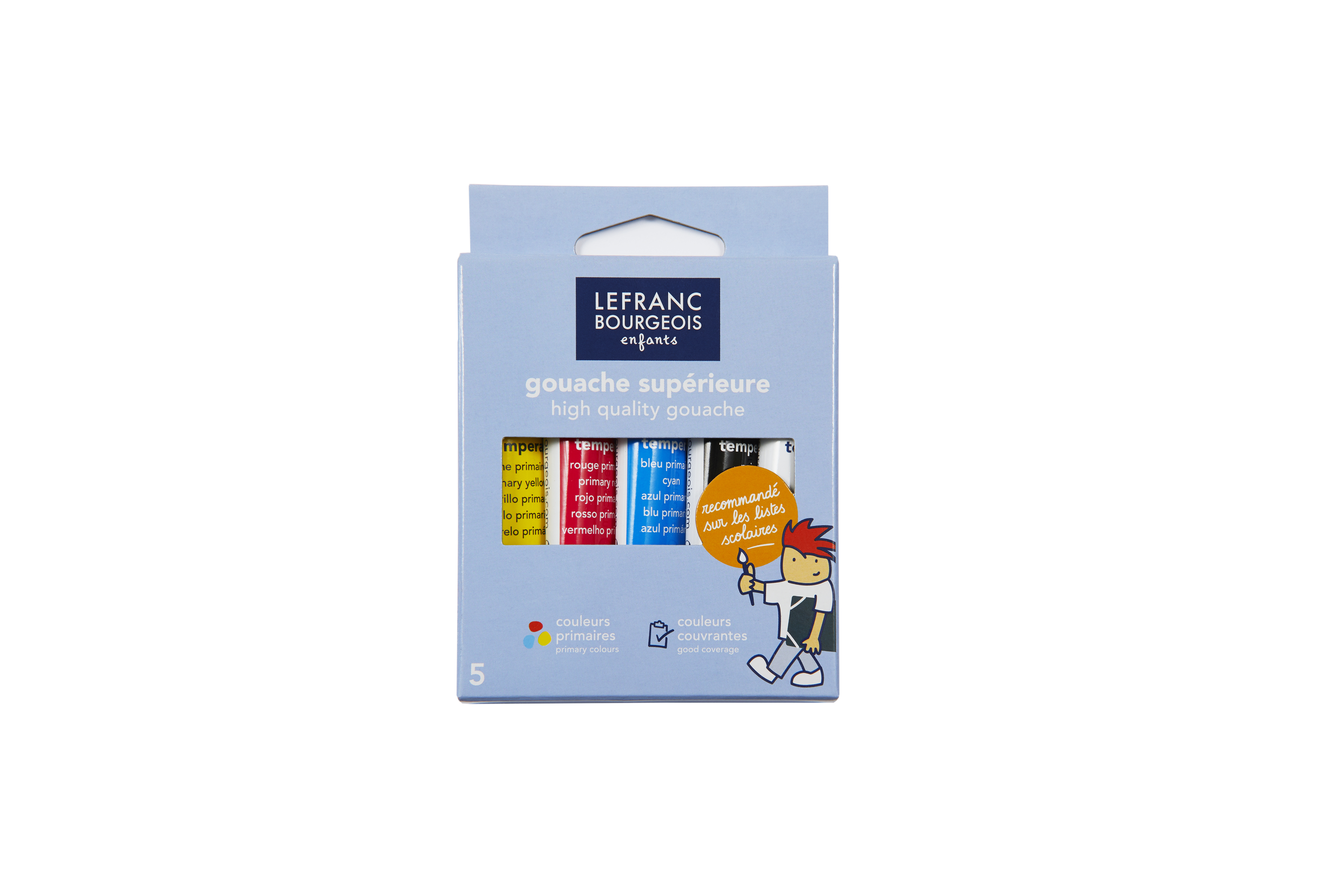 Lefranc & Bourgeois - Pack de 5 tubes de peinture à base d'eau (gouaches tempéra) - 10 ml