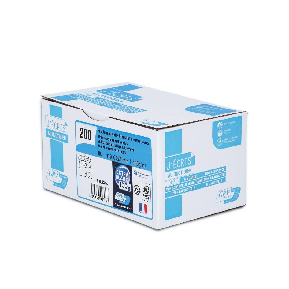 GPV - 200 Enveloppes DL 110 x 220 mm - 100 gr - fenêtre 45x100 mm - blanc - bande adhésive