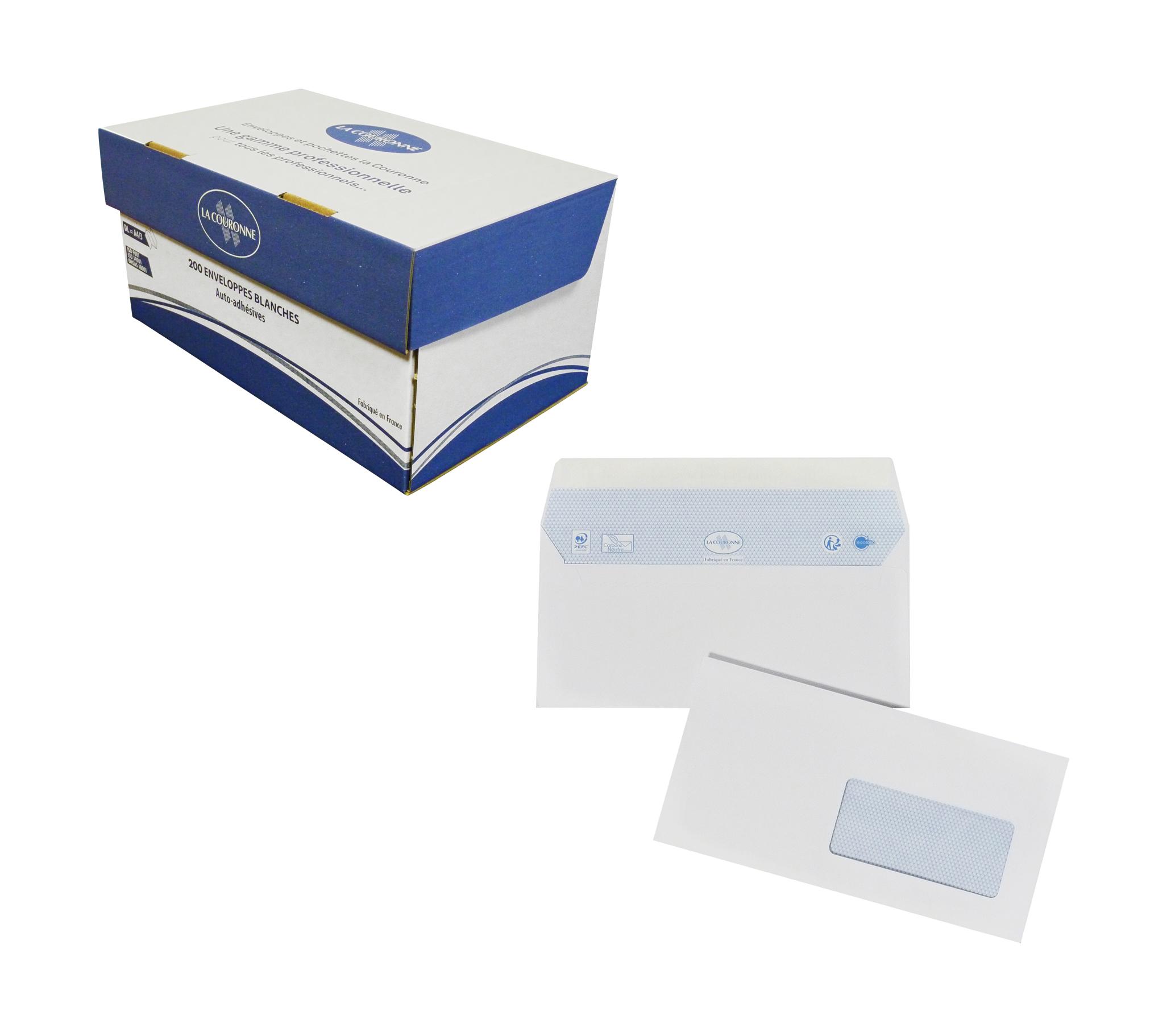 La Couronne - 200 Enveloppes DL 110 x 220 mm - 100 gr - blanc - fenêtre 35x100 mm - bande auto-adhésive