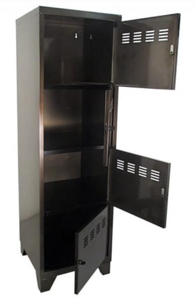 Casier de bureau monobloc métallique avec pieds - 4 portes - H134 x L40 x P40 cm - noir vernis