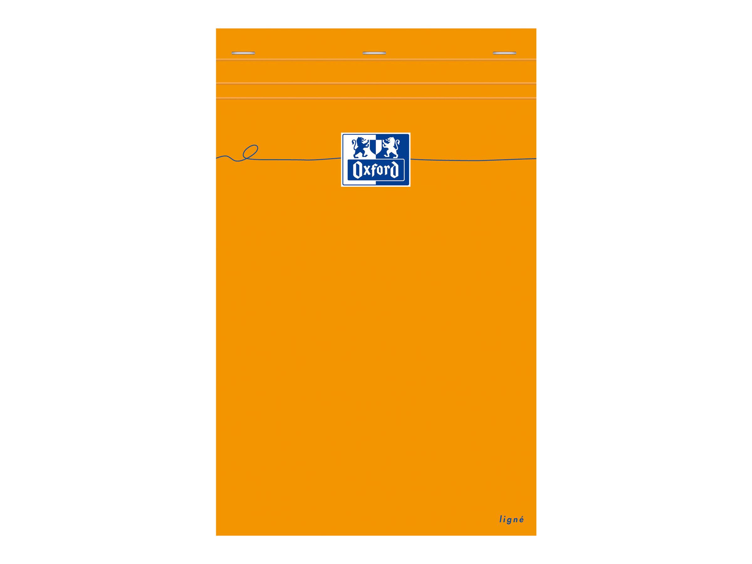 Oxford - Bloc notes - A4 + - 160 pages - ligné - 80G - perforé - orange