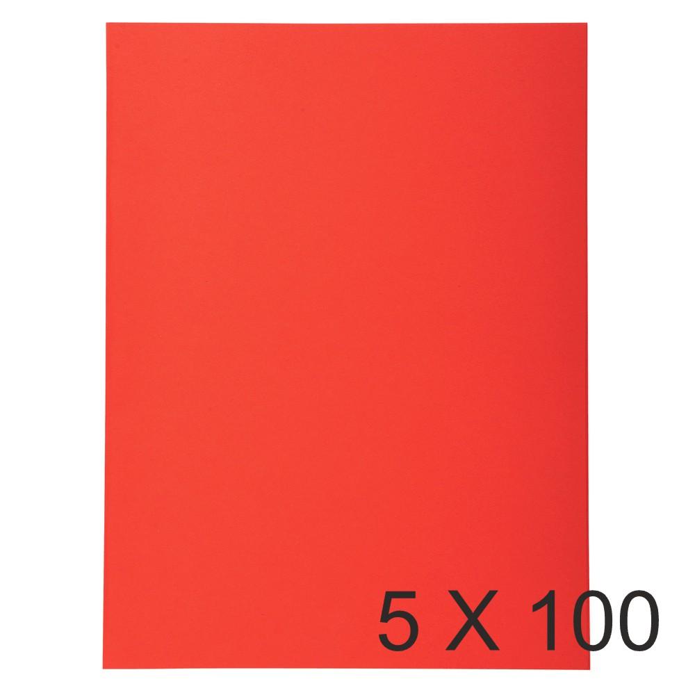 Exacompta Forever - 5 Paquets de 100 Chemises Folio - 170 gr - rouge