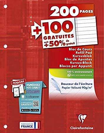 Rhodia - Bloc de cours - A4 - 300 pages - ligné avec marges