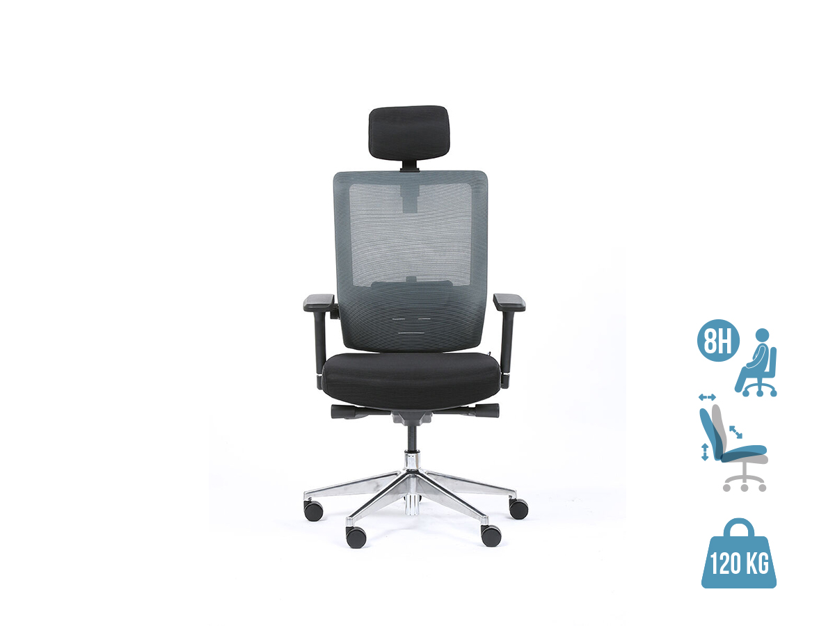 Fauteuil de bureau ergonomique SYNEC - accoudoirs réglables - appuie-tête réglable - noir