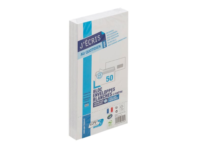 GPV - 50 Enveloppes DL 110 x 220 mm - 75 gr - fenêtre 45x100 mm - blanc - bande adhésive - bloc détachable