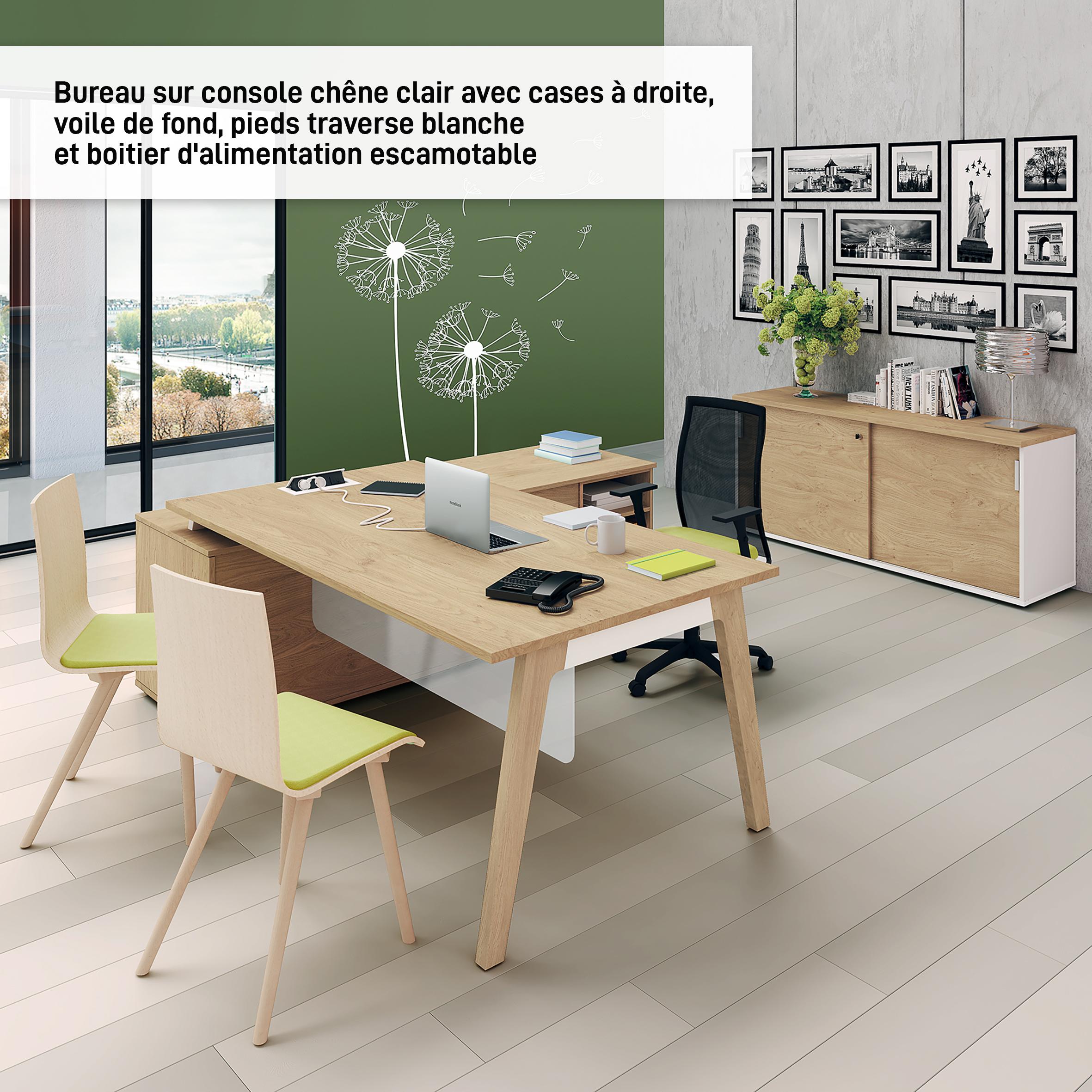Bureau WOODY Manager - L210 x P100 x H72,5 cm - console retour à droite L200 x P60 cm - pieds blanc - plateau imitation Chêne clair