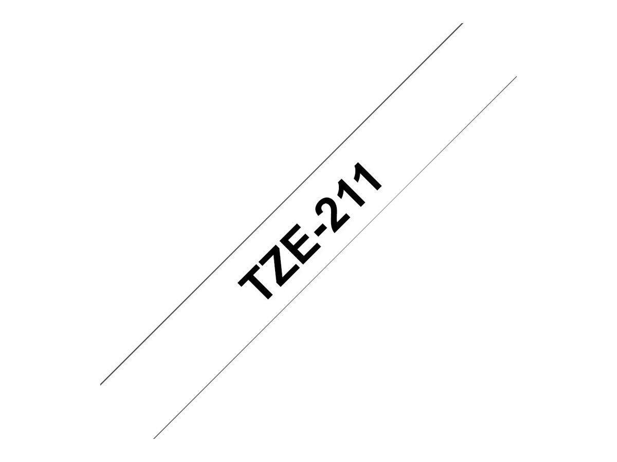 Brother TZe211 - Ruban d'étiquettes auto-adhésives - 1 rouleau (6 mm x 8 m) - fond blanc écriture noire