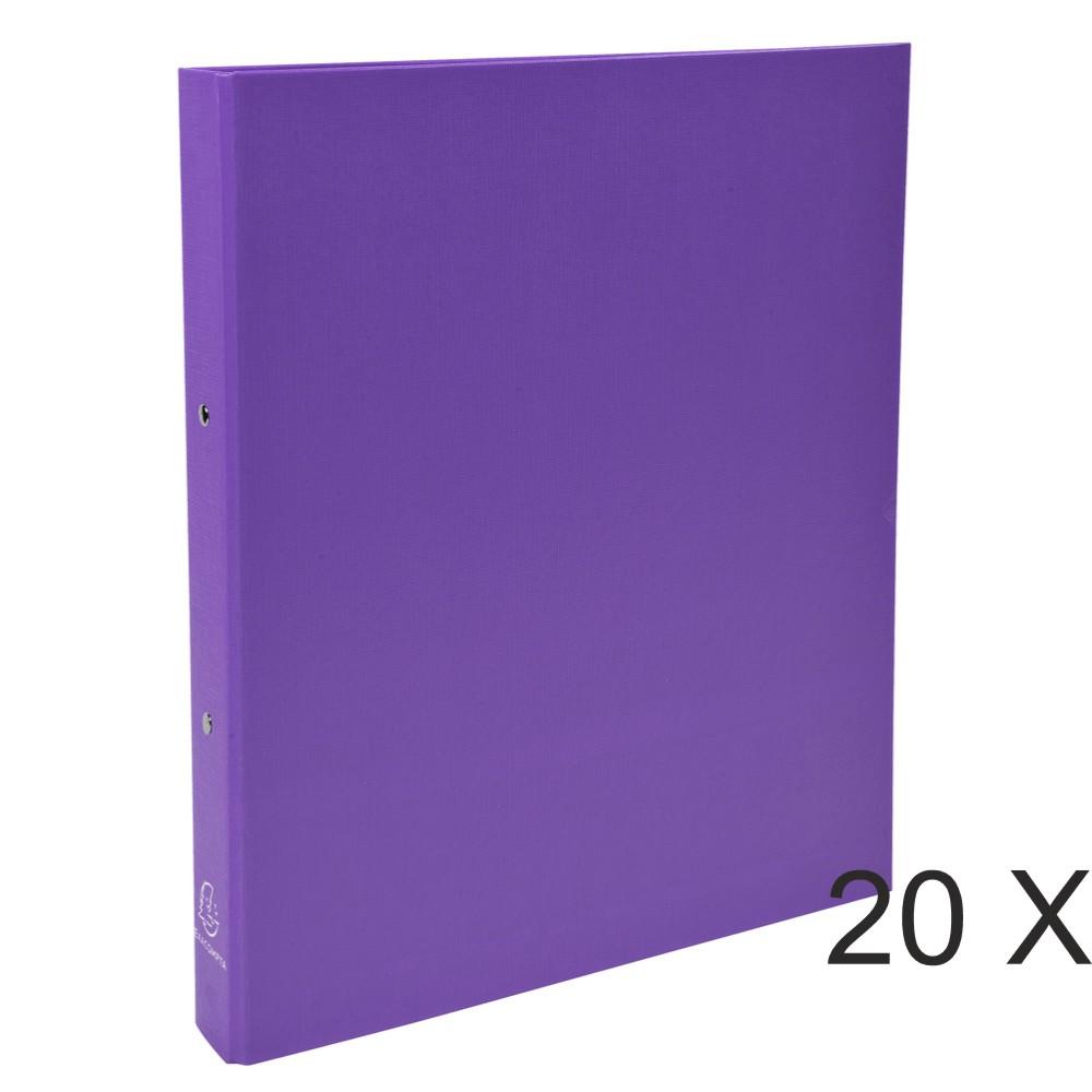 Exacompta - 20 Classeurs polypro 2 anneaux - Dos 40 mm - A4 - violet