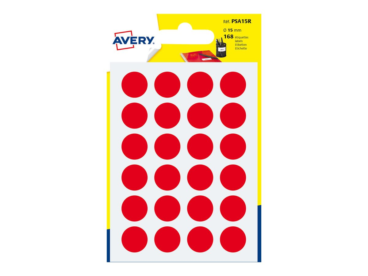 Avery - 168 Pastilles adhésives - rouge - diamètre 15 mm