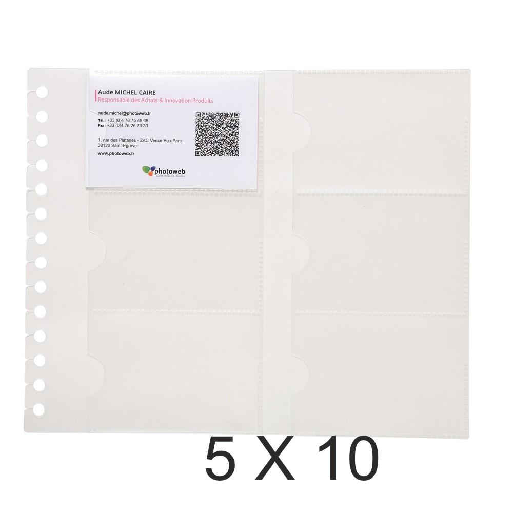 Exacompta - 5 Packs de 10 recharges pour porte cartes de visite Exacard - 19 x 23 cm - 120 vues