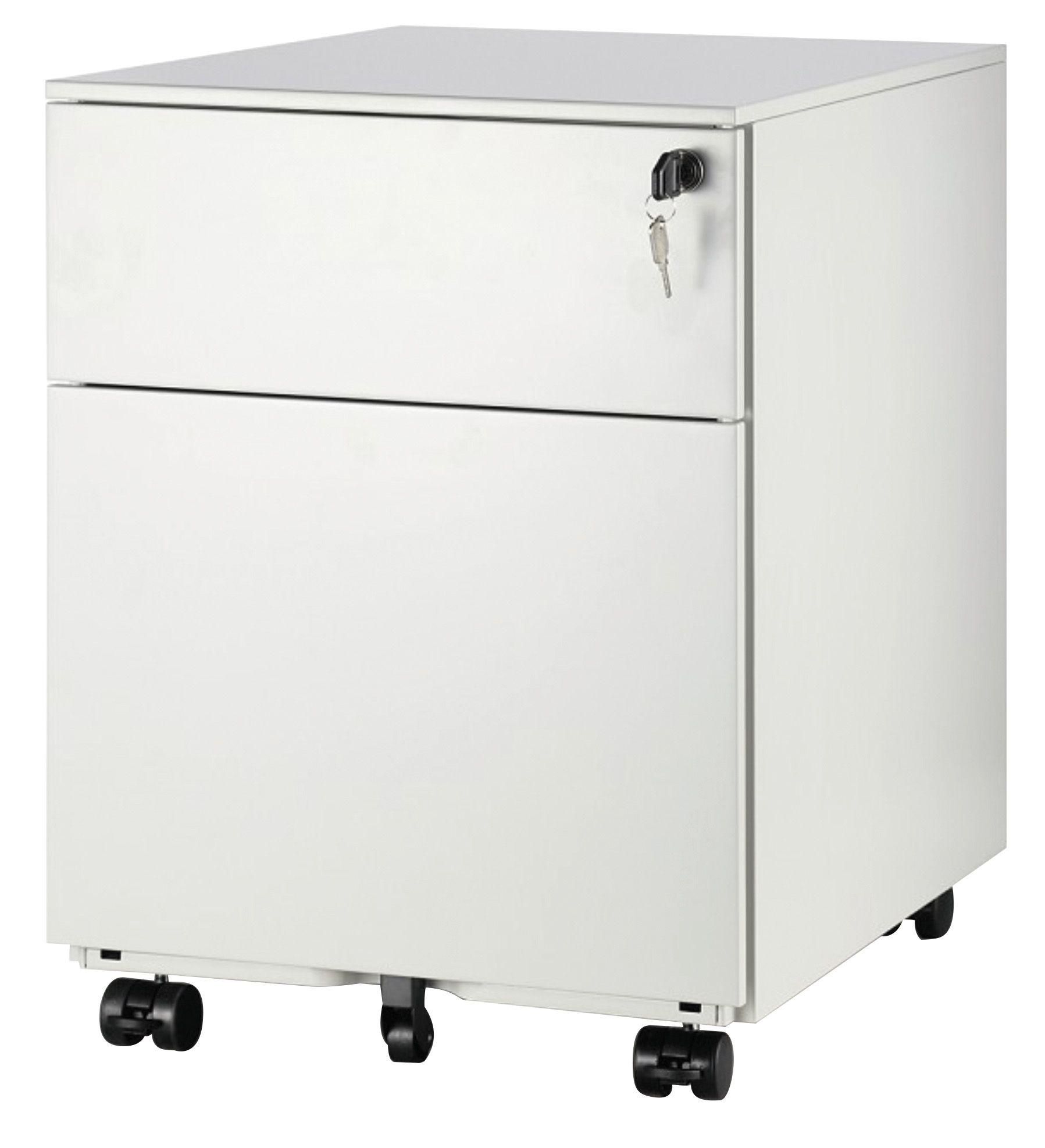 Caisson mobile métallique monobloc - H50 x L42 x P56,5 cm - 2 tiroirs - blanc
