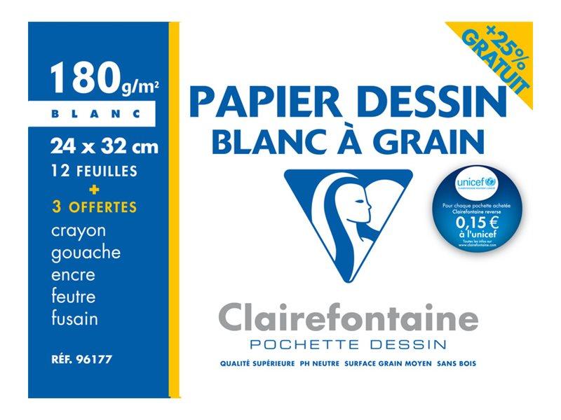 Clairefontaine - pochette papier à dessin  - 12 feuilles - 24x32- 180G - blanc