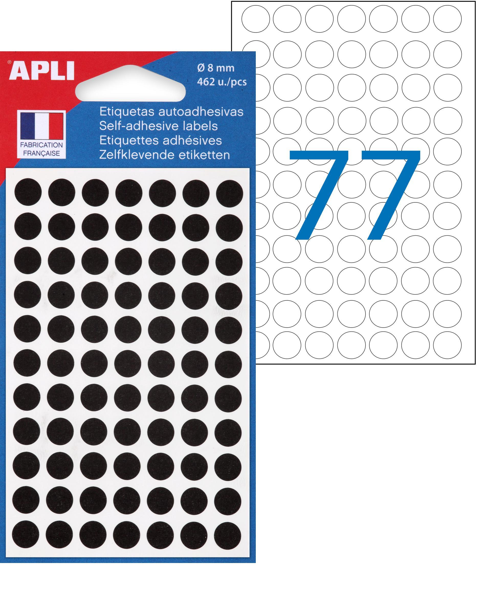 Apli Agipa - 462 Pastilles adhésives - noir - diamètre 8 mm - réf 111837