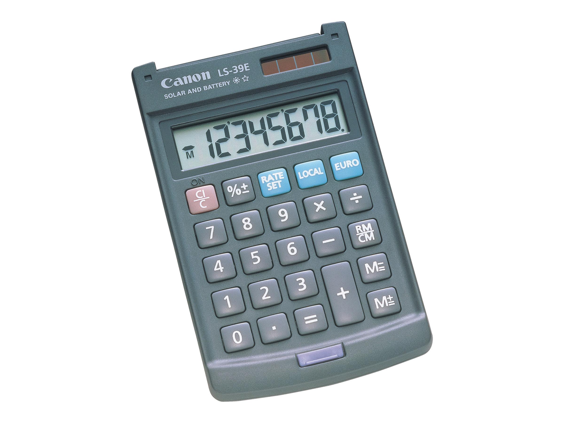 Calculatrice de bureau Canon LS-39E - 8 chiffres - alimentation batterie et solaire