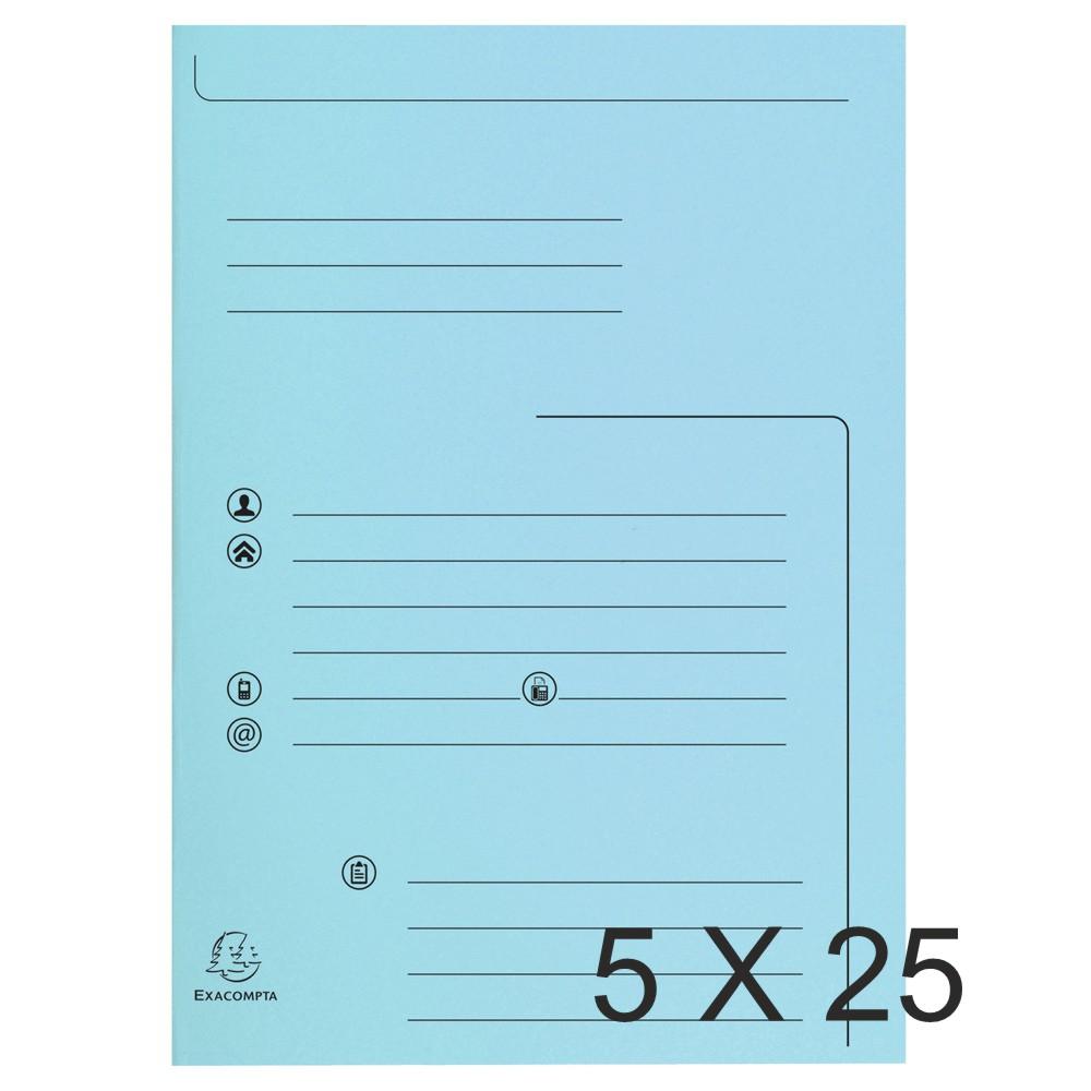 Exacompta Super 210 - 5 Paquets de 25 Chemises imprimées 2 rabats - bleu clair