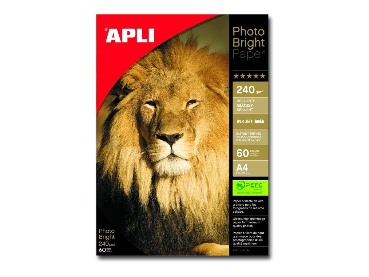 Apli Paper - Papier photo brillant - A4 - 240 g/m² - 60 feuilles